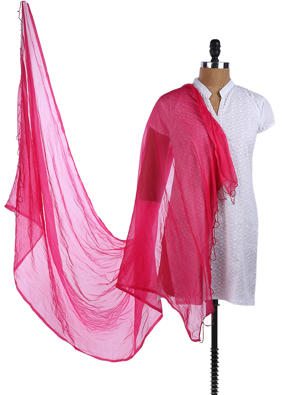 Dark Pink Chiffon Plain Dupatta - Dupatta Bazaar