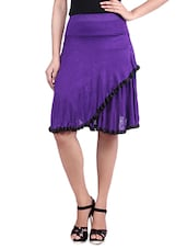 Purple Knee Length Viscose Lycra Flared Skirt - By