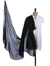 Black Cotton Plain Dupatta - Dupatta Bazaar