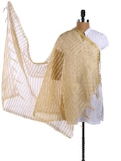 Beige Tissue Silk Striped Pattern Dupatta - Dupatta Bazaar