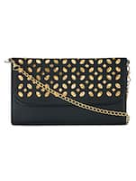black cutwork leatherette sling clutch -  online shopping for clutches