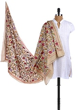 Tussar Silk Multicolor Hand Embroidered Dupatta - Dupatta Bazaar