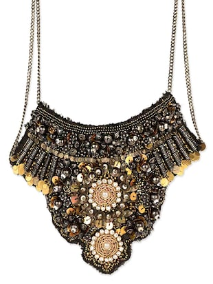 Black Beaded Statement Neck Piece