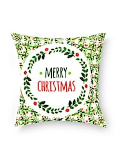 White Merry Christmas Cotton Cushion - By - 9684559