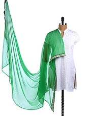 Green Chiffon Embroidered Border Dupatta - Dupatta Bazaar