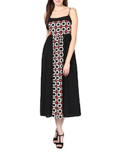 Floral Power Black Polyester Crepe Maxi Dress - Palette