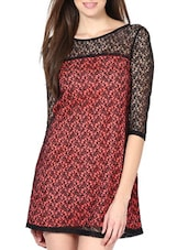 Lovely Black And Maroon Lace Top - Palette