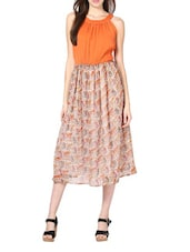 Stylish Orange  Poly Chiffon Maxi Dress - Palette