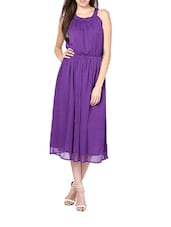 Stylish Purple  Poly Chiffon Maxi Dress - Palette