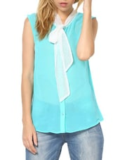 Fabulous Aqua Green  Poly Georgette Top - Palette