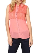 Sweet Peach  Poly Georgette Top - Palette