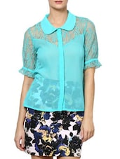 Aqua Green  Poly Georgette Top With Lace Sleeves - Palette