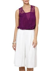 Sleeveless Lace Top In Purple - Palette