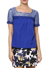 Stylish Blue  Poly Crepe Top With Lace Sleeves - Palette