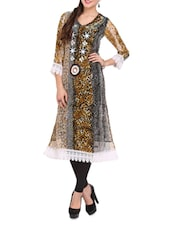 Multicoloured Animal Print Kurti With White Cotton Lace - Lubaba