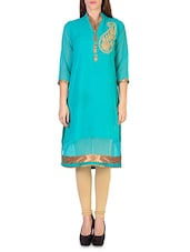 Sea Blue Georgette Embroidered Kurta - By