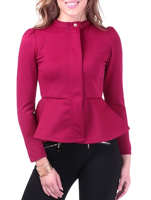 Knitted Cotton Fleece Turtle Neck pink Peplum Terry Jacket
