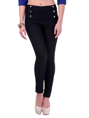 High Waisted Black Cotton Lycra Jeggings