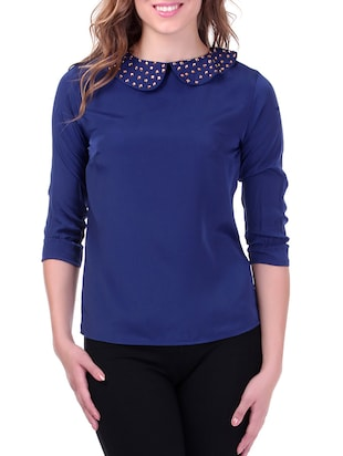Studded Collar Blue Top