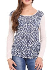 White And Blue Printed Top - Femenino