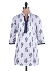 White And Black A-line Printed Cotton Kurti - By