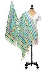 Sea Green With Multi Striped Banarasi Dupatta - PLUME