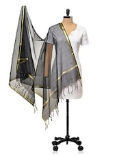 Black With Golden Border Banarasi Dupatta - PLUME