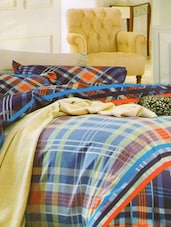 Gorgeous Blue Checkered Print Bed Linen With Pillow Covers - Skap