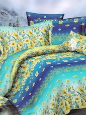 Attractive Blue Printed Bed Linen With Pillow Covers - Skap