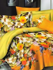 Bright Yellow Bed Linen With Pillow Covers With Gorgeous Floral Print - Skap