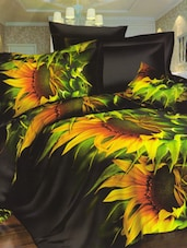 Amazing Black And Yellow Sunflower Printed Bed Linen With Pillow Covers - Skap