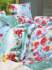 Gorgeous Green And Red Floral Printed Bed Linen With Pillow Covers - Skap