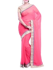 Pink Embellished Chiffon Saree With Gold Border - By - 9689065