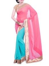 Blue And Pink Chiffon Saree - By