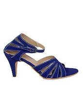 Blue Cross-Strap Heel Sandals - By