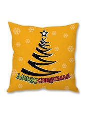 Yellow Christmas Theme Printed Cushion Cover - By