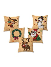 Set Of 5 Christmas Theme Printed Cushion Cover - By