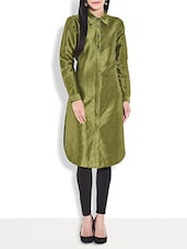 Olive Art Raw Silk Shirt Collared Kurta - By
