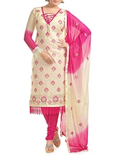Beige And Pink Embroidered Unstitched Suit Set - By