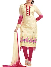 Cream And Pink Embroidered Unstitched Suit Set - By