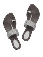 Silver Faux Leather Party Wear Flats - Charu Diva