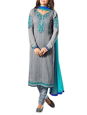 Grey Embroidered Semi Stitched Suit Set - By
