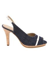 Classic Navy Blue Peep-toe Sandals - Charu Diva