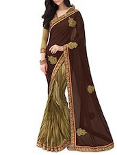 Brown And Green Printed Georgette Saree - By
