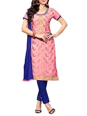 Pink And Blue Jacquard Unstitched Suit Set - By