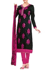 Black And Pink Embroidered Unstitched Suit Set - By - 9691165