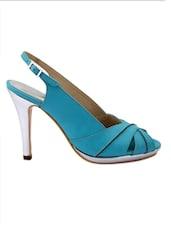 Blue Faux Leather High Heel Sandals - Charu Diva