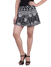 Monochrome Printed Cotton Mini Skirt - By