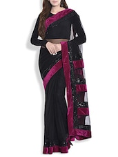 Black And Magenta Sequined Net Saree With Velvet Border - By