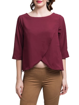 Maroon Solid Front Crossover Top